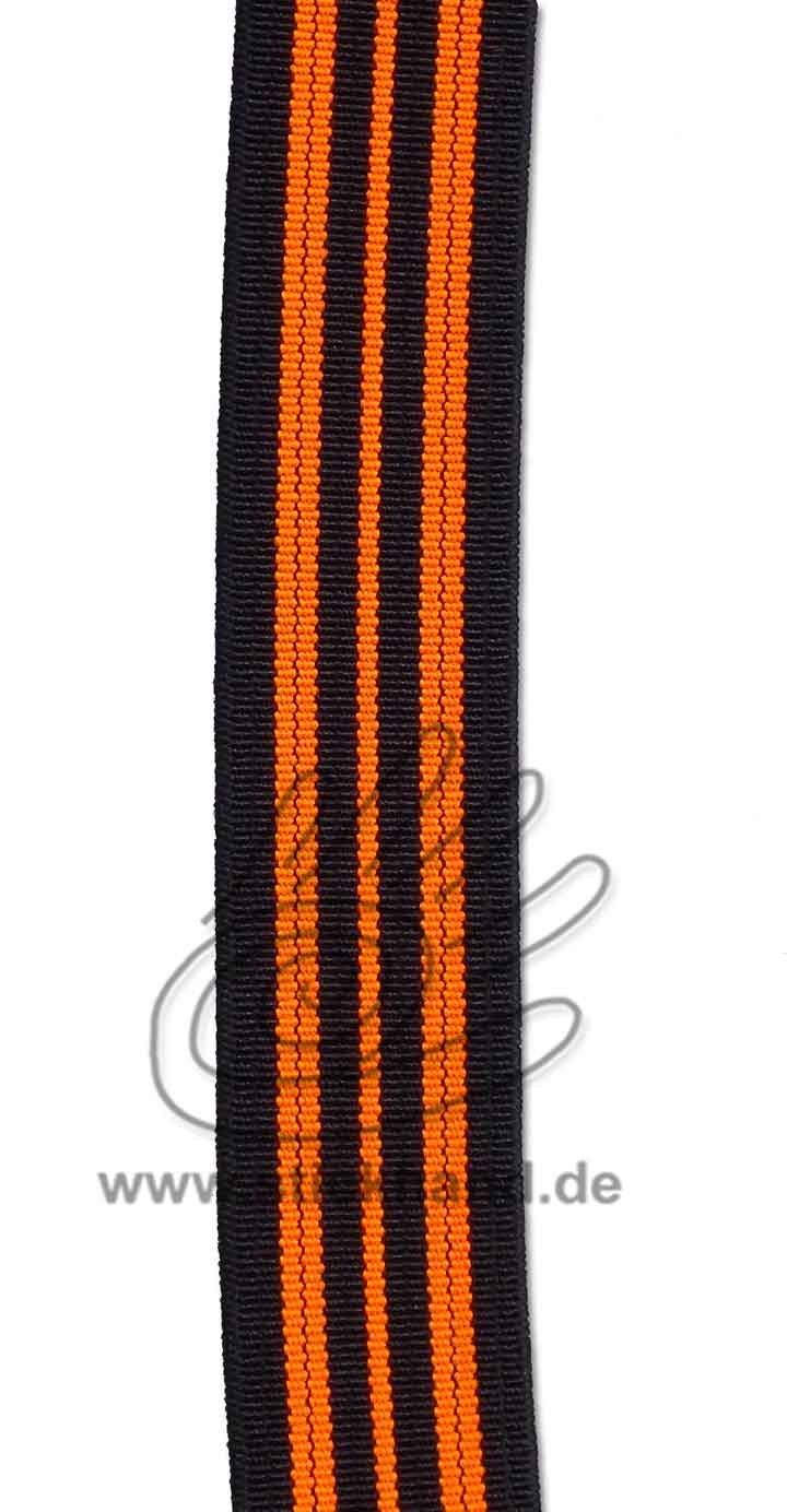 0603089 Gummiband – 20 mm – schwarz orange-neon