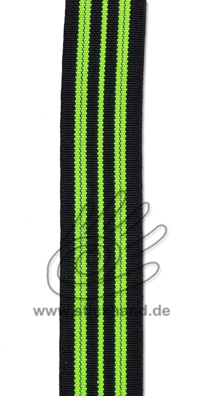 0603090 Gummiband – 20 mm breit – schwarz gelb-neon