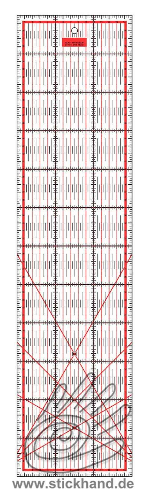 0604119 Patchworklineal 60 x 15 cm rot