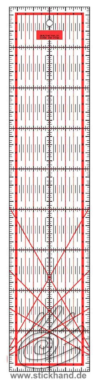 0604124 Patchworklineal 45 x 10 cm rot