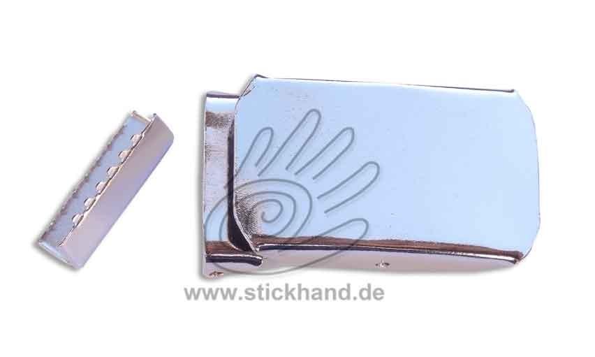 0604187_Metallschließe mit Gurtendstück, 25 mm