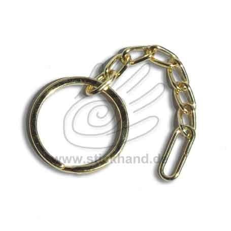 0604203_Schlüsselring 20 mm Durchmesser, gold, Kette und Öse