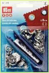 Prym 541 374 Ösen mit Scheiben 8 mm Durchmesser, silberfarben