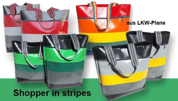 Shopper in stripes – aus LKW-Plane Nähanleitung und / oder Materialsets