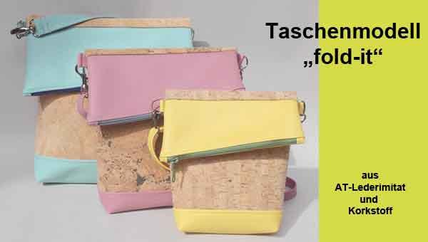 Taschenmodell Fold-it aus Korkstoff und Lederimitat - Lieblingsfarben, passend zu Kleidung und/oder Anlass. Korkstoffe mit unterschiedlichen Strukturen und Lederimitate aus einer großen Farbpalette