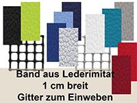 Band un Gitter - Neues Material für eine pfiffige Gestaltungs-Technik, Band aus Lederimitat in vielen Farben. Es lässt sich auf die verschiedensten Arten in ein Gitter einweben und anschließend bestens mit der Haushalts-Nähmaschine weiterverarbeiten.