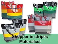 Materialset Shopper in stripes - Robust und ausgesprochen strapazierfähig ist unser neuer Shopper. Zur  Arbeit, Schule, Uni und natürlich zum Einkaufen. Farbenfroh aus LKW-Plane in den Größen groß & hoch oder groß & breit.